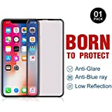 PERFECTSIGHT iPhone X/10 Screen Protector [Eye Care] Anti-glare Anti Blue Light Filter Anti-fingerprint 9H Tempered Glass Film for iPhone X/10 (5.8 Inch Black)(Premium Edition)