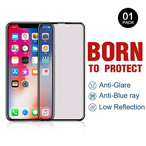 PERFECTSIGHT iPhone X/10 Screen Protector [Eye Care] Anti-glare Anti Blue Light Filter Anti-fingerprint 9H Tempered Glass Film for iPhone X/10 (5.8 Inch Black)(Premium Edition) ()