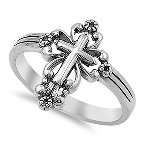 VE-01090 Sterling Silver Victorian Style Cross Band Ring (11)