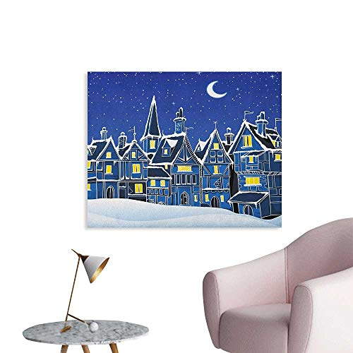 Anzhutwelve Xmas Photographic Wallpaper Town in Snow Old Houses Winter Season Moon and Stars Night Christmas Inspired Funny Poster Blue Yellow White W32 xL24 -