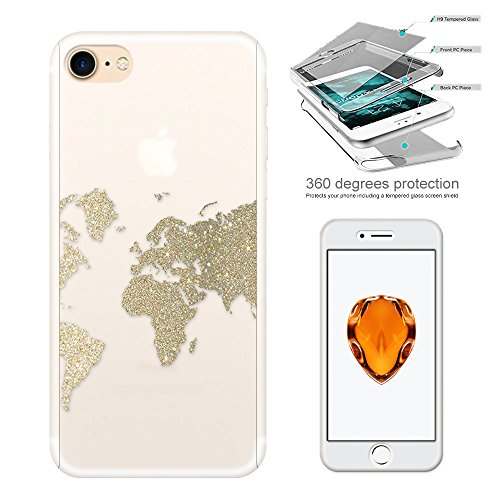 "c01427 - Gold Glitter Style World Map Atlas Design iphone 6 6S 4.7"" Komplett 360° Grad Vollschutz Schild Hülle Front&Back Hülle +Tempered Glass Screen"