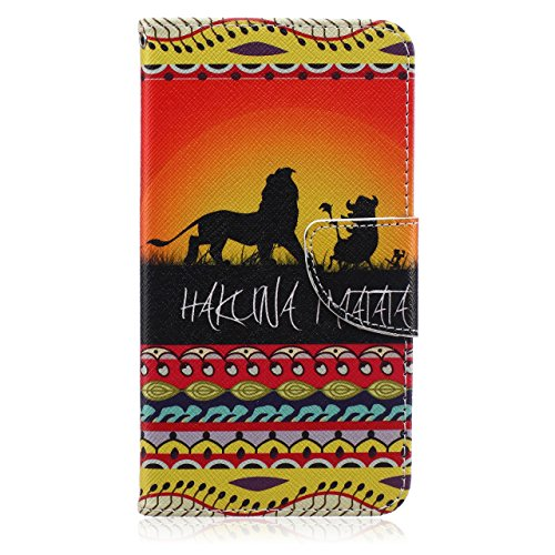 iPod Touch 5 Case,King of Lion Pattern Premium PU Leather Wallet Case Stand Cover With Card Slots for Apple iPod Touch 5 5th (King Lion Case Ipod 5 Touch)