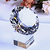 #10: YWHL 80 mm Crystal glass Diamond Paperweight with glass stand Home decor/ Office decorationfor/ valentines day gift (Clear)