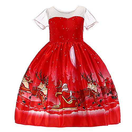 HUANQIUE Girls Dress Christmas Eve Xmas Snow Holiday Party Dresses Red 2-3 -