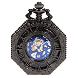 SIBOSUN WENSHIDA Retro Old Railroad Style Octagon Steampunk Mechanical Skeleton Hand-Wind Pocket Watch Blue Dial