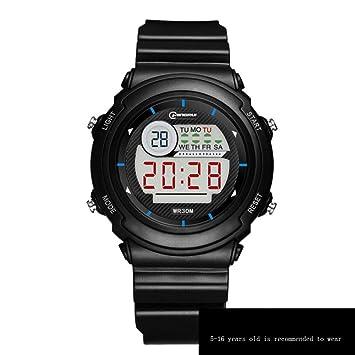 JHGFRT Reloj Electrónico Niño Niña Impermeable Multifunción Reloj Digital Luminoso Despertador Alumno Niños Reloj,Black: Amazon.es: Hogar