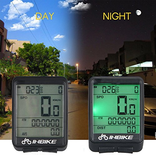 Waterproof Design 11 Function Day/Night Bicycle Computer LCD Backlight Multifunction Digital Sport Cycling Wireless Sensor Speedometer Fits All Bikes Easy Install and Operate BK141 by iGrove (Image #2)