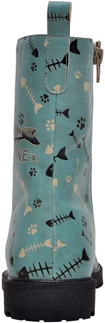 DOGO Zipsy Vegan Printed Breathable Chic Zipper Lace Up Fashion Mid Calf Women Boots Fish Bone Lover