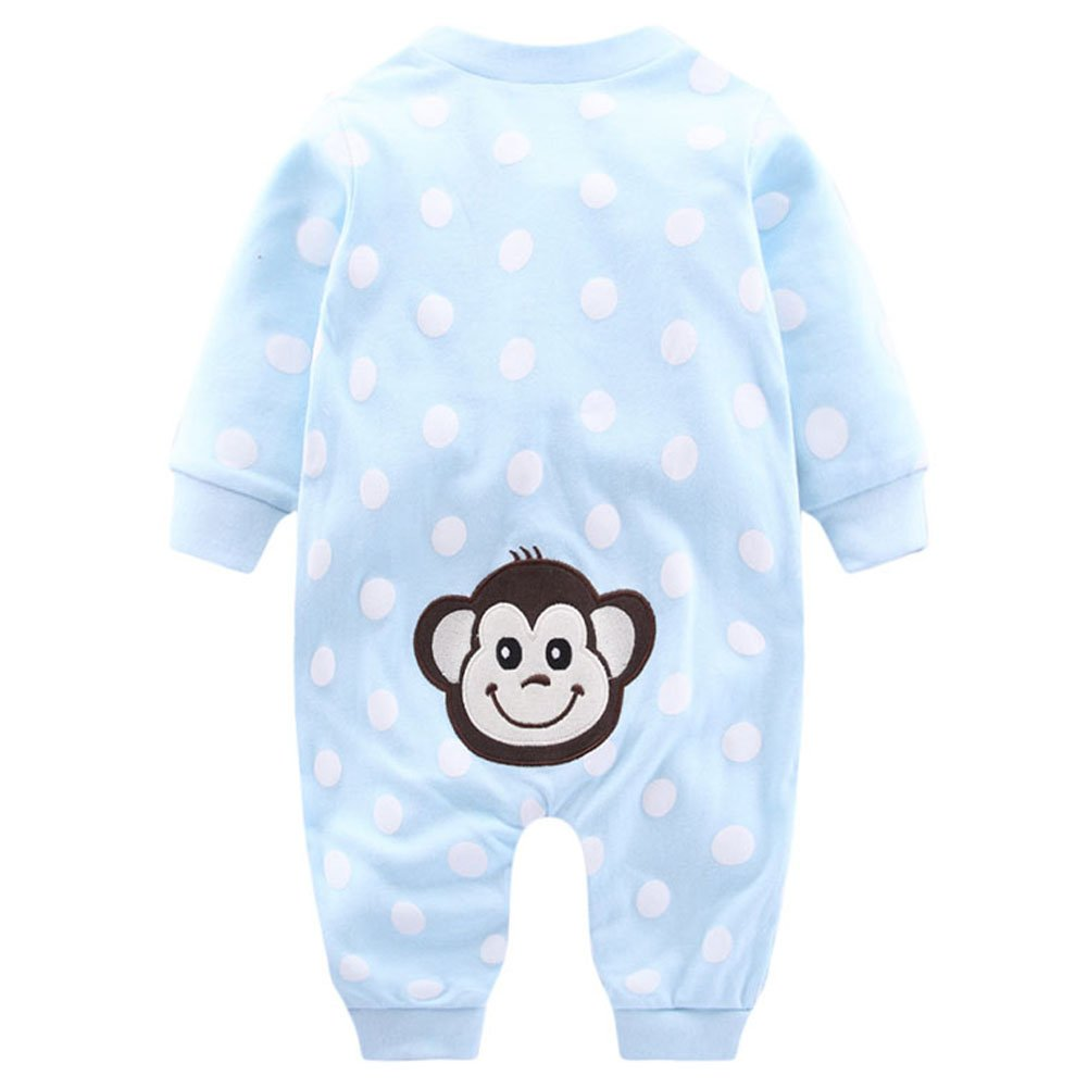Fairy Baby Unisex Babies Long Sleeve Romper Snap Front Coverall,9-12M,Blue Monkey