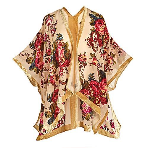 L A Soul Women's Romantic Red Roses Sheer Velvet Wrap - Open Front Shawl Shrug - Small/Medium -