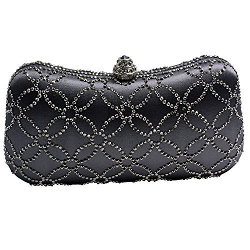 Flower gray Flower Prom Bridal Womens DMIX Bag Evening Wedding Clutch Crystal for gv05wPq