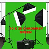 ePhotoInc 3200 Watt Softbox Photo Video Studio Portrait 3200K Warm Lighting with 10x20 CHROMAKEY Muslin Green Screen Backdrop Support Stand Set H604SB2-1020G 3200K