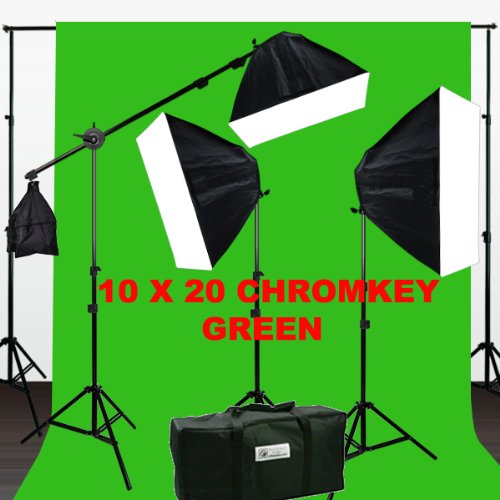 ePhotoInc 3200 Watt Softbox Photo Video Studio Portrait 3200K Warm Lighting with 10x20 CHROMAKEY Muslin Green Screen Backdrop Support Stand Set H604SB2-1020G 3200K by ePhotoinc