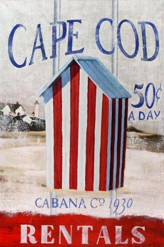 Buyartforless Cape Cod Cabana by Robert Downs 36x24 Art Print Poster Wall Decor Nostalgic Colorful Vintage Travel Coastal Beach Vacation