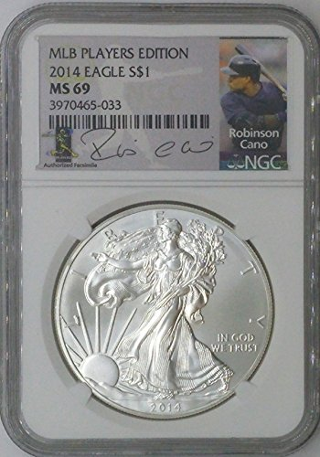 (2014 Modern Commemorative $1 MS69 NGC $1 Silver Eagle 1 Troy Oz Fine Silver .999 MLB Players Edition Robinson Cano MS69 NGC)