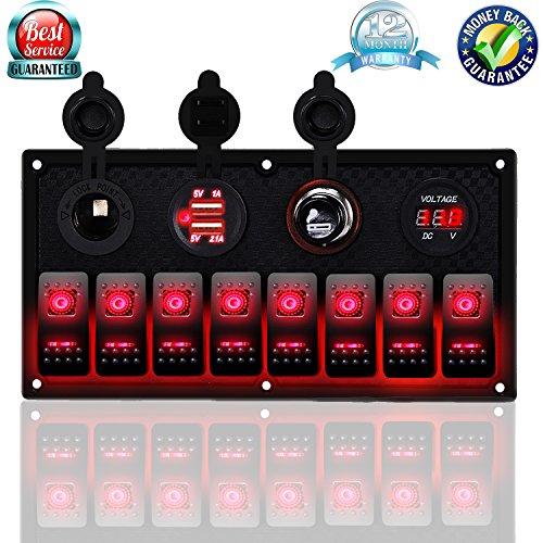 DCFlat 4 Gang / 6 Gang / 8 Gang Circuit LED Car Marine Waterproof 5 Pin Boat Rocker Switch Panel with Fuse Dual USB Slot LED Light + Power Socket Breaker Voltmeter for RV Car Boat (8 Gang-Red)