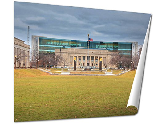 Ashley Giclee Fine Art Print, Indiana Public Library In American Legion Mall Indianapolis, 16x20, - Indiana Indianapolis Malls