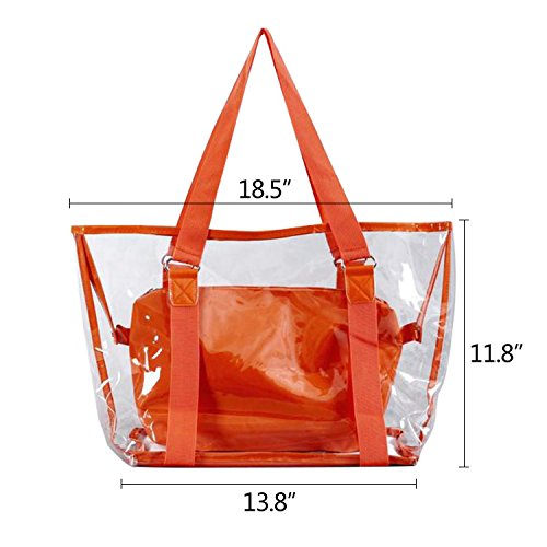Waterproof Beach With PVC Transparent Summer Pouch Orange Capacity bag Large Tote Interior Clear NOTAG Handbag p4twq8Tq