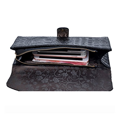Women's Crocodile Messenger Dinner Pattern Leather Chain Wristlets Black Clutch Bag Wallet Shoulder Party XFXWRqr