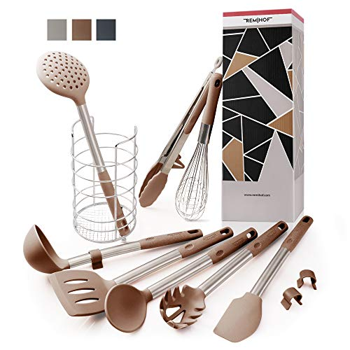 REMIHOF Silicone Kitchen Utensil 9-Piece Set of Premium Stainless Steel and Nonstick Silicon - Spatula Turner Ladle Pasta Server Whisk Tongs with Holder - Best Culinary Gift Set (9 PCS, Beige)