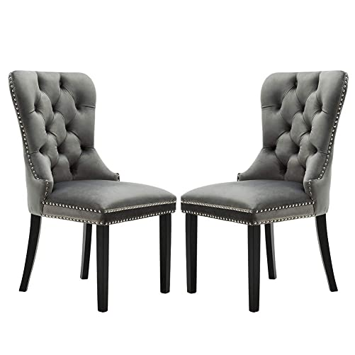 Chairus Velvet Dining Chairs Upholstered, Elegant Tufted Chair with Nailed Trim, Velvet Accent Chair Set of 2 – Light Gray