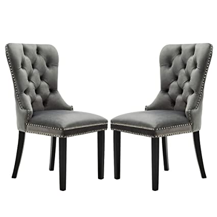 Amazon.com : Velvet Dining Chairs Upholstered, Elegant Tufted Chair With  Nailed Trim, Velvet Accent Chair Set Of 2   Light Gray : Garden U0026 Outdoor