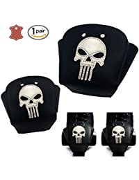 Leather Roller Skate Toe Guards with Skull