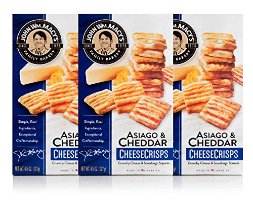 John Wm. Macy's CheeseCrisps, Asiago & Cheddar, 4.5 Ounce Box, Pack of 3