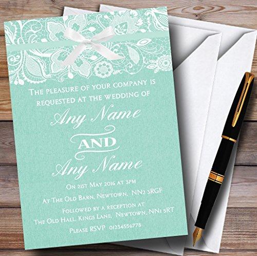 Vintage Mint Green Burlap & Lace Personalized Wedding Invitations