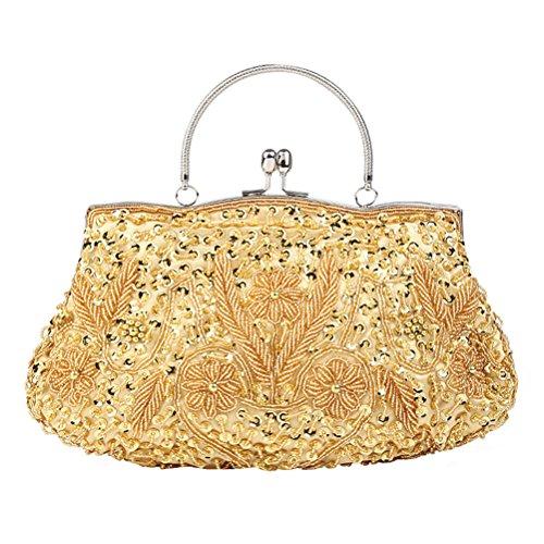 Pochette da sera OULII Pochette elegante vintage per cerimonia e festa in Oro