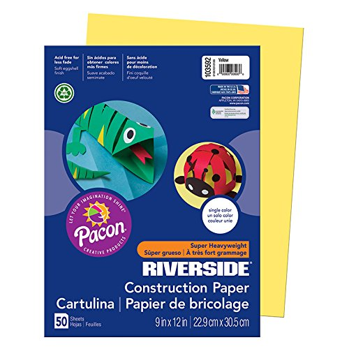 "Riverside 3D Construction Paper, Yellow, 9"" x 12"", 50 Sheets"