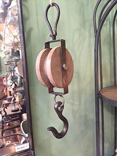 Vintage Flaschenzug Rund Schiffsblock Loft Antik Umlenkrolle Wandhaken Seilzug
