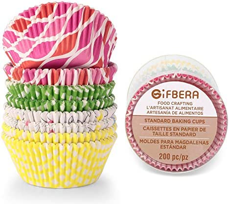 Gifbera Standard Cupcake Colorful 200 Count
