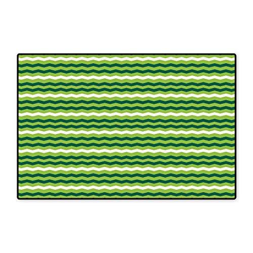(Green Door Mat Small Rug Wavy Horizontal Lines in Vibrant Colors Traditional Irish Pattern Bath Mat for Bathroom Mat 16