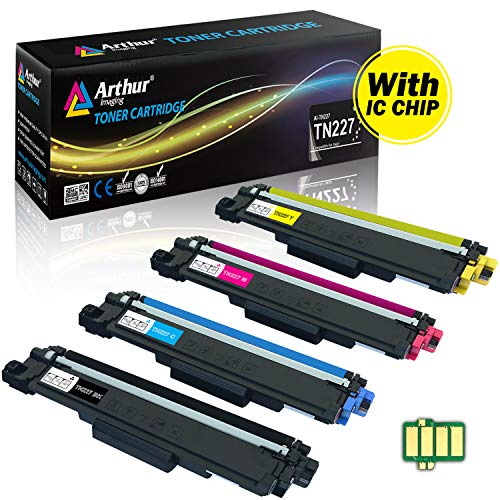 Arthur Imaging with CHIP Compatible Toner Cartridge Replacement Brother TN227 TN227bk TN 227 TN223 use with HL-L3210CW HL-L3230CDW HL-L3270CDW HL-L3290CDW MFC-L3710CW MFC-L3750CDW MFC-L3770CDW 4 Pack ()