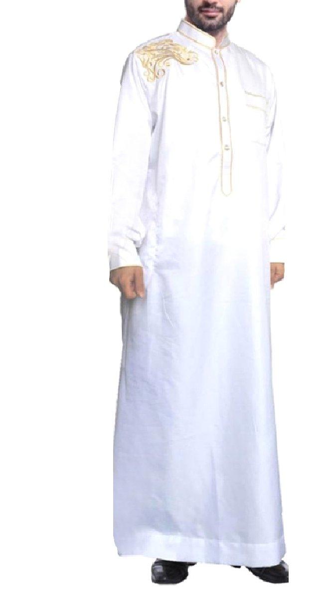 CuteRose Men Embroidered Mandarin Collar Basic Cotton Islamic Muslim Thobe White M