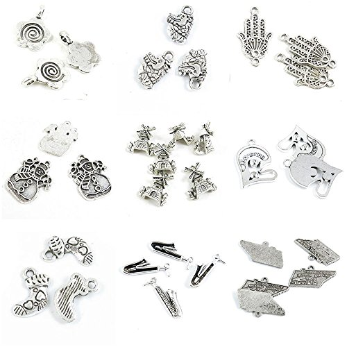 32 PCS Jewelry Making Charms Tennessee Map Tags Saxophone Love Heart Socks Stockings Windmill House Xmas