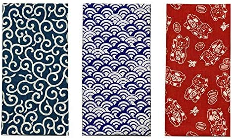 Japanese traditional towel TENUGUI BLUE DRAGON NEW COTTON MADE IN JAPAN