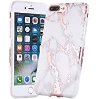Pummory Protective Shiny White Marble Design Case for iPhone 7