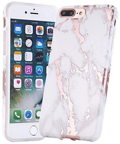 Pummory Protective, Shiny White Marble Design, TPU Soft Rubber Silicone Cover Phone Case for iPhone 7 - Rose Gold