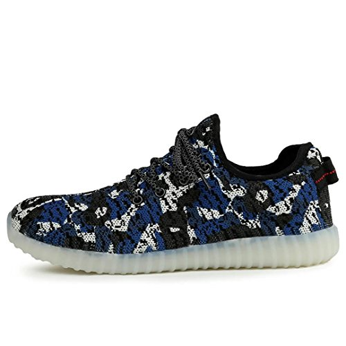 Dear-Queen Mens & Womens Breathable 7 Colors LED Light up Sneakers Flashing Athletic Shoes Camouflage Blue l9oYewvi