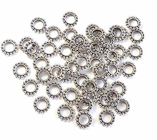 48 Antiqued Silver Plated Pewter Rondelle Beads 9x2mm with 4.5mm Hole Metal (Hole Metal Bead)