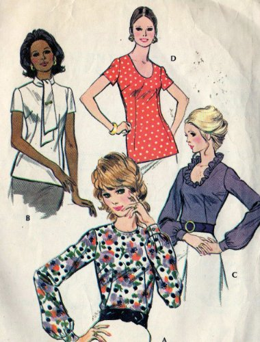 McCall's 3150 Misses Pull Over Blouse Sewing Pattern Vintage 1970s Size 14 Bust (70s Pullover)