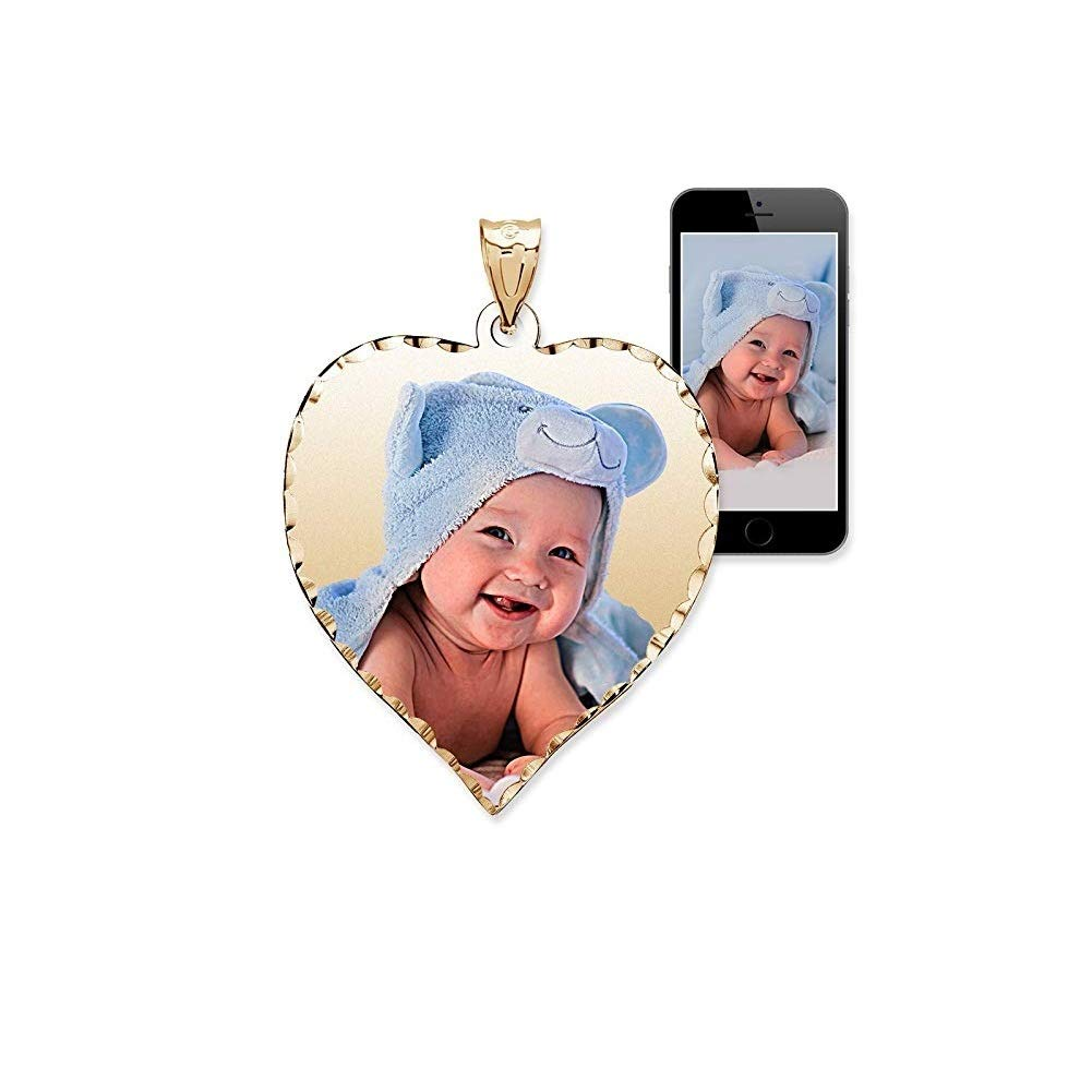 PicturesOnGold.com Personalized Photo Engraved Heart Shaped Custom Photo Pendant/Photo Necklace/Photo Charm with Diamond Cut Edge - 3/4 Inch x 3/4 Inch (Sterling Silver) by PicturesOnGold.com