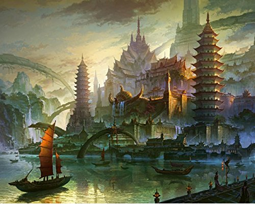 (JynXos Paint By Number No Mixing / No Blending Linen Canvas DIY Painting -?Pagoda Abstract Landscape With Wooden Framed)