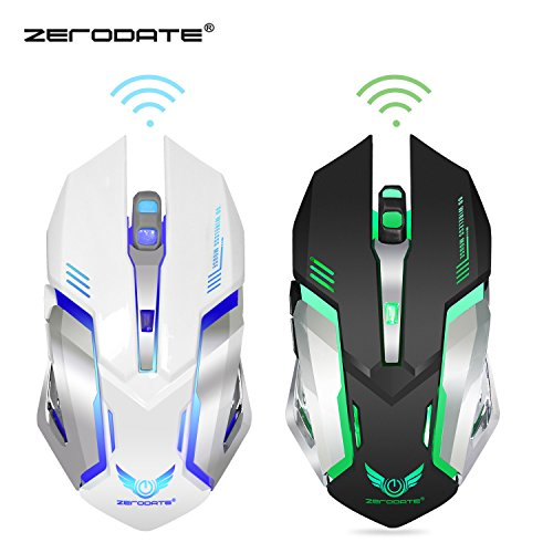 Dasenzen ZERODATE X70 Wireless Gaming Mouse, 2.4GHZ Rechargeable Wireless Computer Game Mice Built in with 600mAh Battery(Black) -