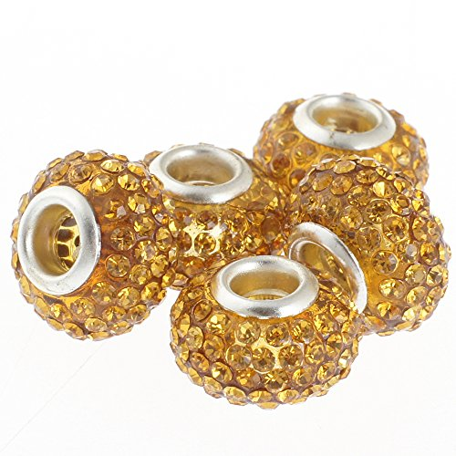 RUBYCA Big Hole Czech Crystal Large Slide Beads fit European Charm Bracelet (5pcs, Gold, 15mm) (Amber Murano Crystal)