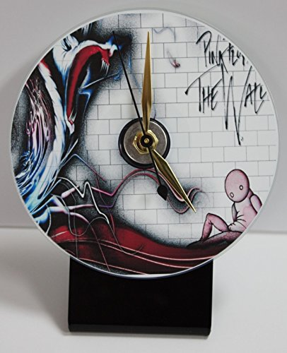 PINK FLOYD 2 PICTURE CD DESK CLOCK WITH BLACK ACRYLIC BASE