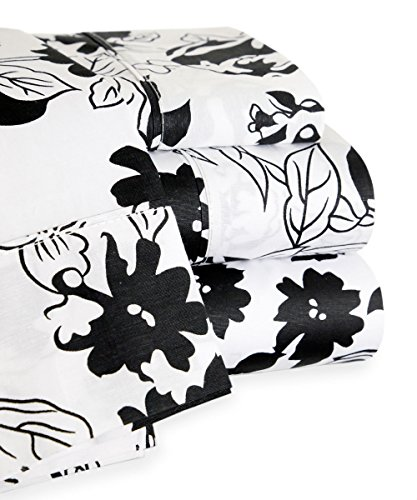 Trade Linker 200 Thread Count Floral Sheet Set, Full, Black/White