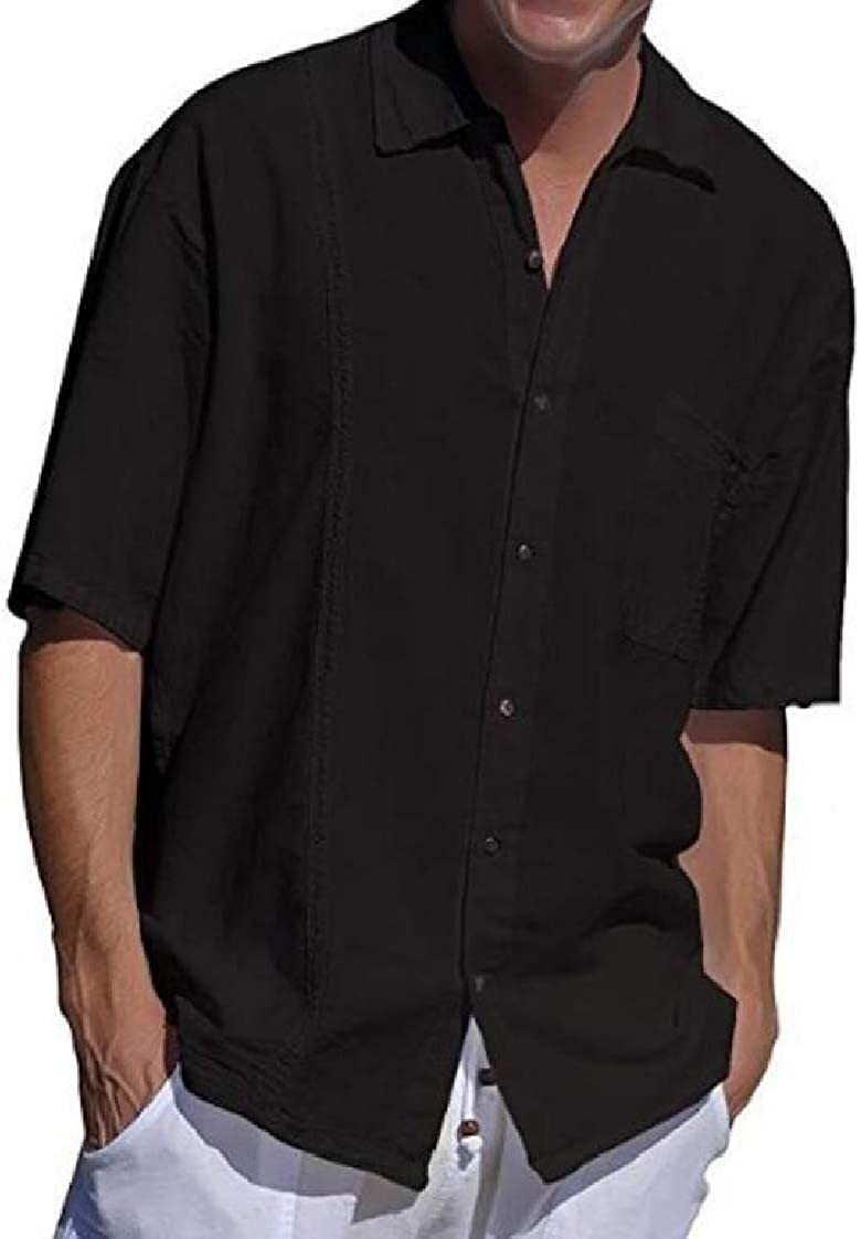 Abeaicoc Mens Linen Shirts Short Sleeve Button Down Shirt with Pockets